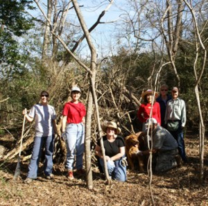 Image of members working on clearing the BRAC trail