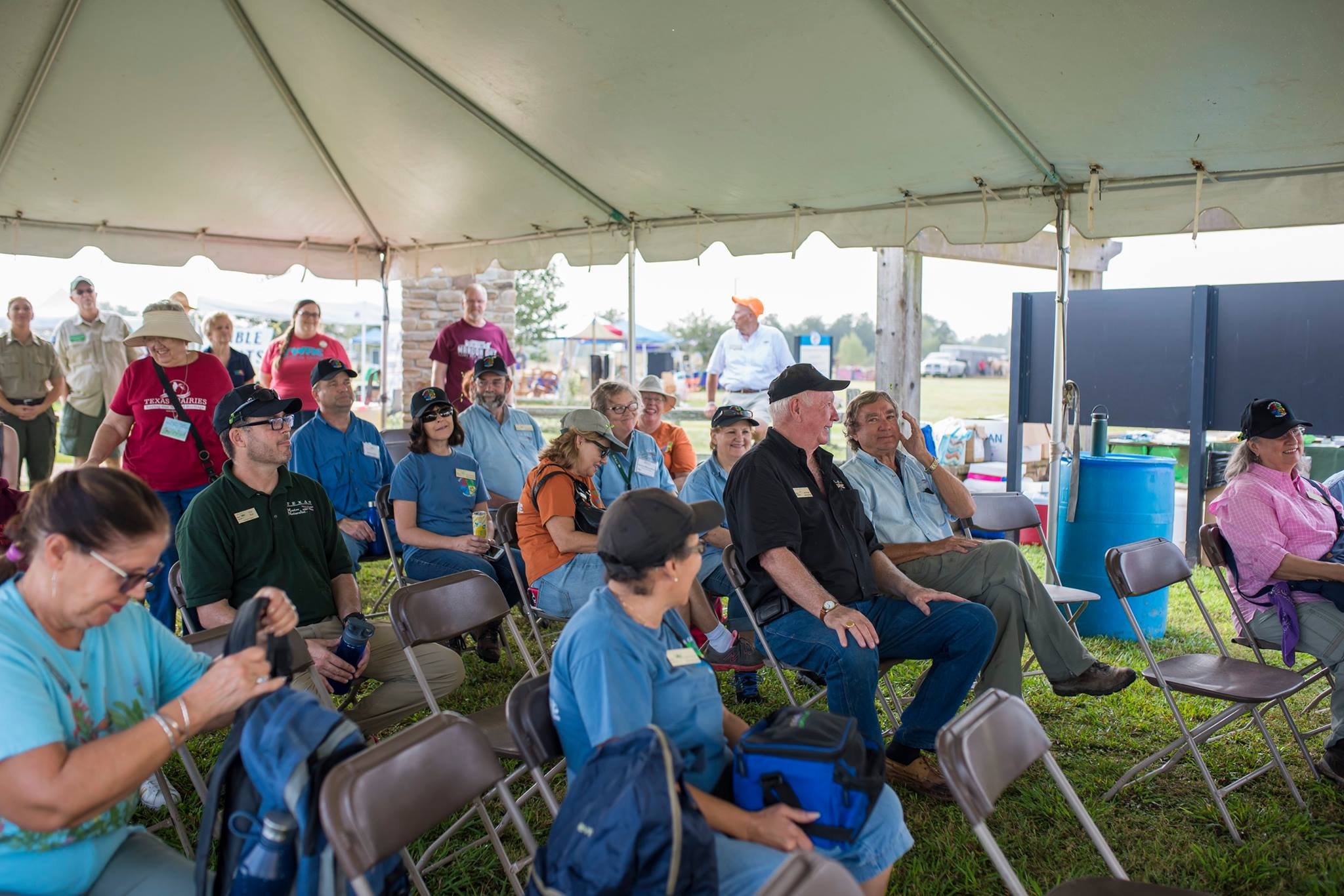 Speaker's tent at PHF 2017-Jim Karl Carol Donna etc.