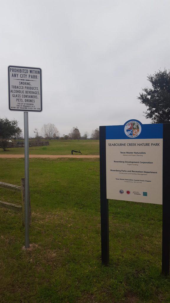 Sign at Seabourne Creek Park 2019
