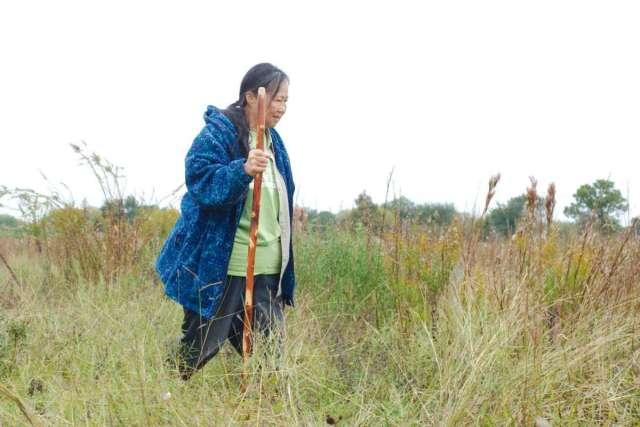 Lan Shen walks through a prairie