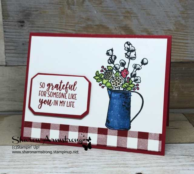Card Making: Buffalo check meets Country Home. I was so excited when I figured out how to make a greeting card with red and white checkered tablecloth! Follow me and learn how with the video tutorial by Sharon Armstrong, TxStampin Sharon. #cardmaking #greetingcards #stampinupcards #sharonarmstrong #txstampin,