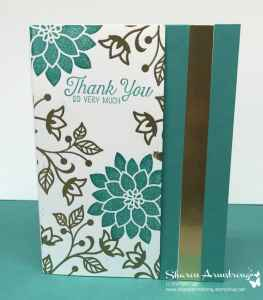 DIY-Thank-You-Card-with-Teal-Textured-Background-and-Stamped-Flowers