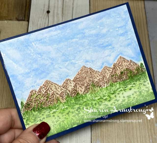 watercolor-techniques-on-greeting-card-with-mountains-and-blue-sky
