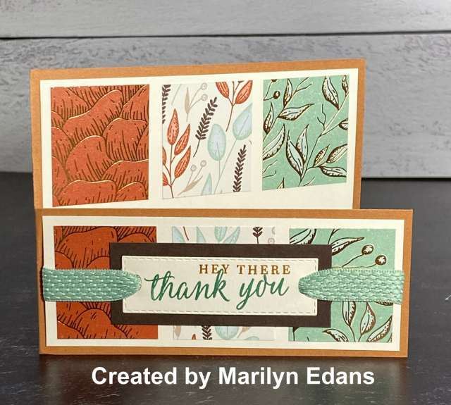 This barn door fold card for fall is so beautiful and I love the designer paper used on this greeting card.