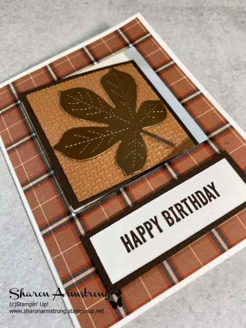 This swing fun fold card uses a die cut leaf with stitched elements as a birthday card.
