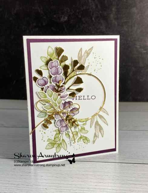 Die cutting magic starts with stamped leaves in hues of greens and purples and some in gold or brass foil paper