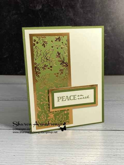 This simple Christmas card features beautiful designer paper backed with foil sheets.