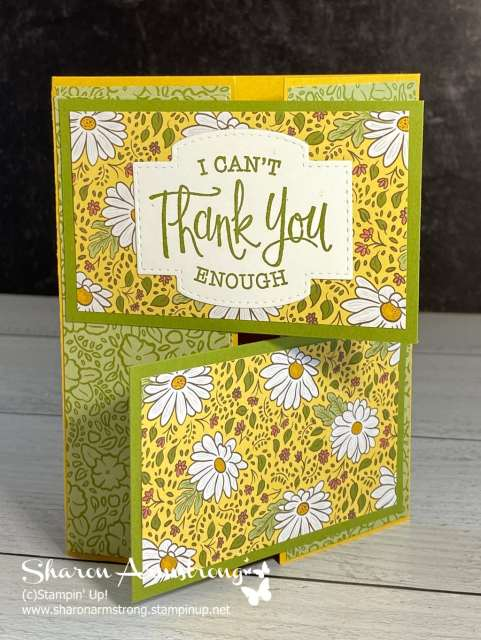 Make a double gate fold card with the Stampin' Up! Ornate Garden Designer Paper