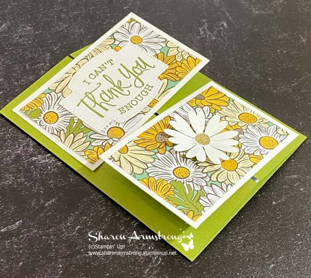 I used a Daisy with the fun shiny embellishment on the bottom of this double gate fold card