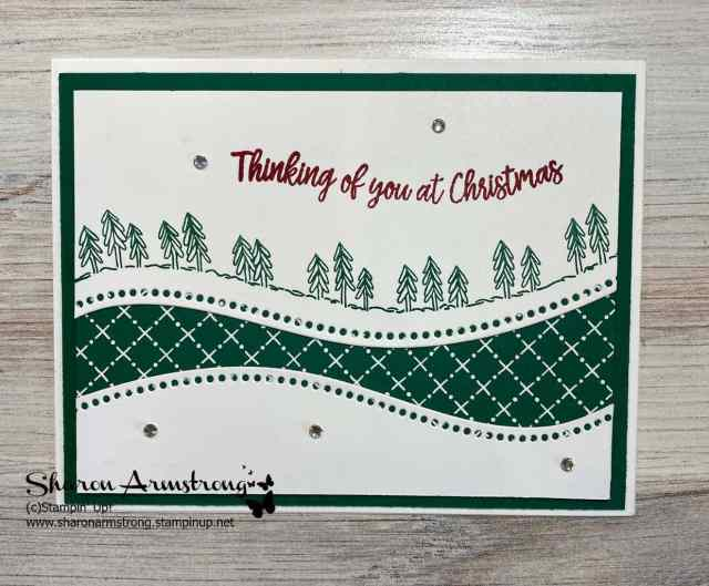 Make a Christmas card with a tree theme and green designer paper