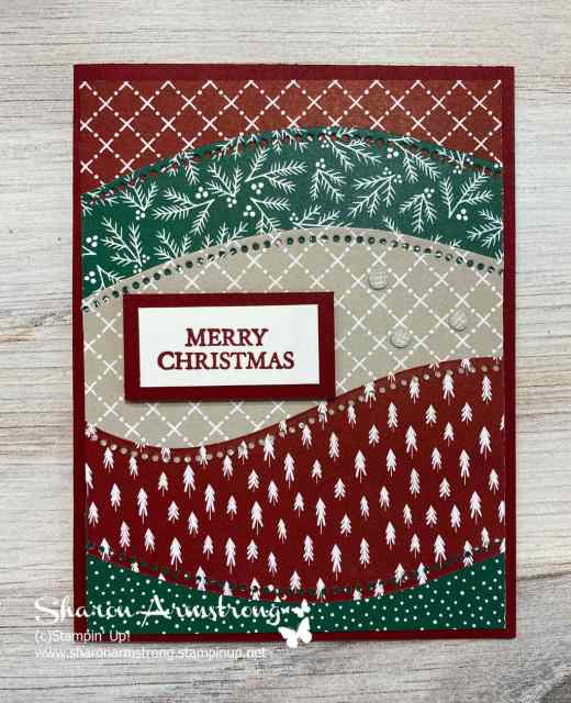 Make a Merry Christmas card with die cut layers from the Stampin' Up! Curvy Christmas bundle.