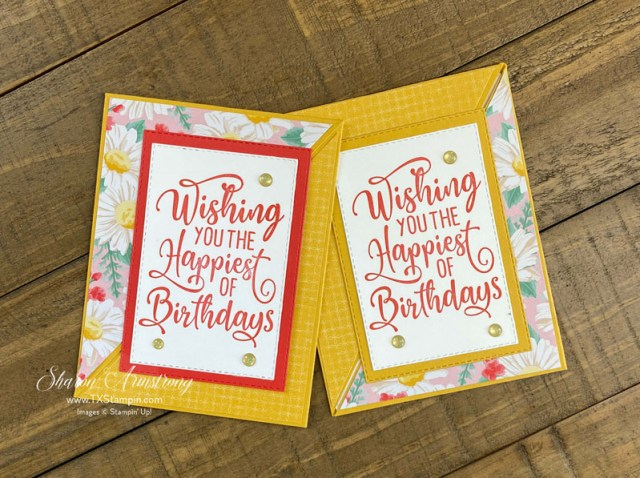 The Stampin' Up! Flowers for Every Season designer paper works year round for the triangle fun fold cards.