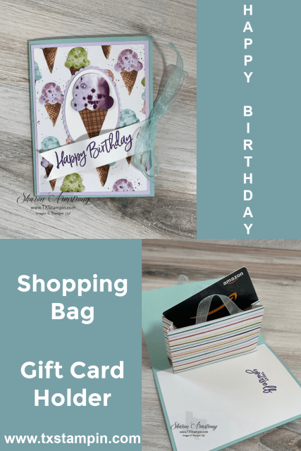 Fun gift card holder to DIY that looks like striped shopping bag.