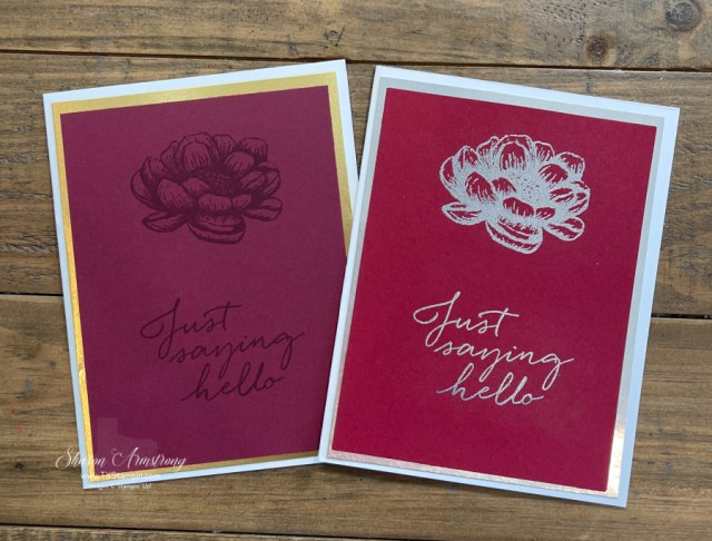 You can see the difference on this ink before and after applying embossing powder.