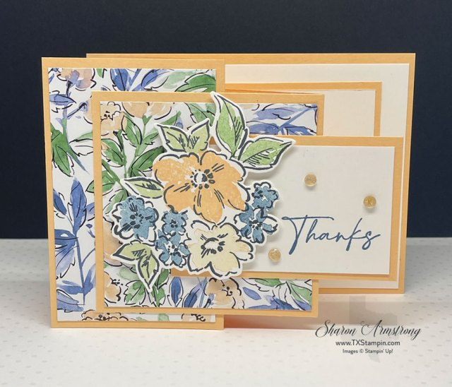 A DIY Thank you card made with the z-fold card template.