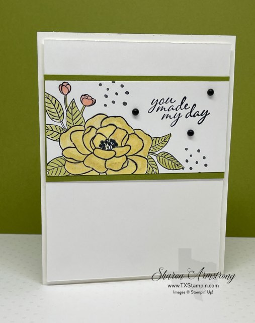 To make my shimmery greeting cards 'shine' I used Wink of Stella pen on the flowers.