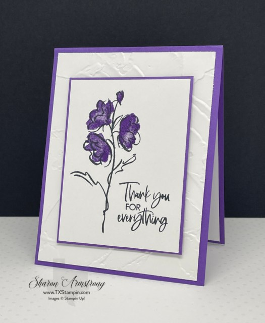 Want to step up your handmade thank you card? Use an embossing folder in the background.