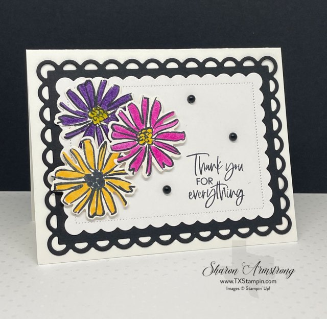 Handmade thank you cards are easy to make with the Stampin' Up! Color & Contour bundle.