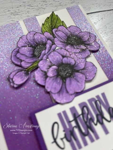 This Birthday Card features sparkly purple ombre paper.