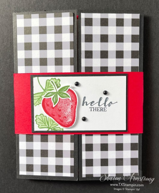Gatefold easel card features the Stampin' Up! Sweet Strawberries stamp set.