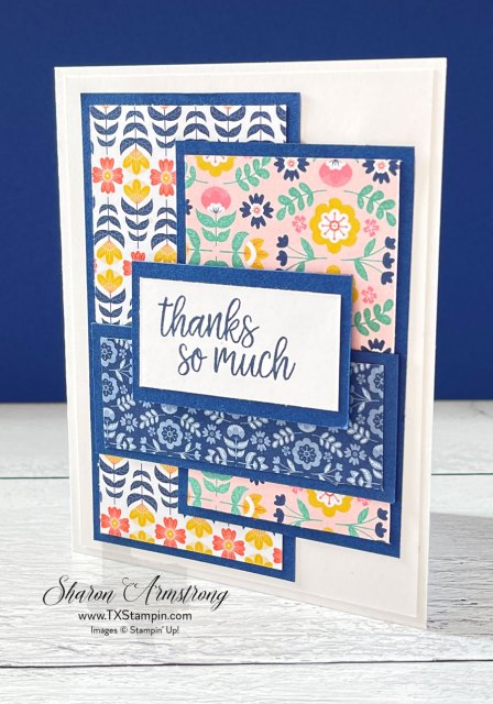 This handmade thank you card features an easy layout with designer paper that is perfect for summer cards.