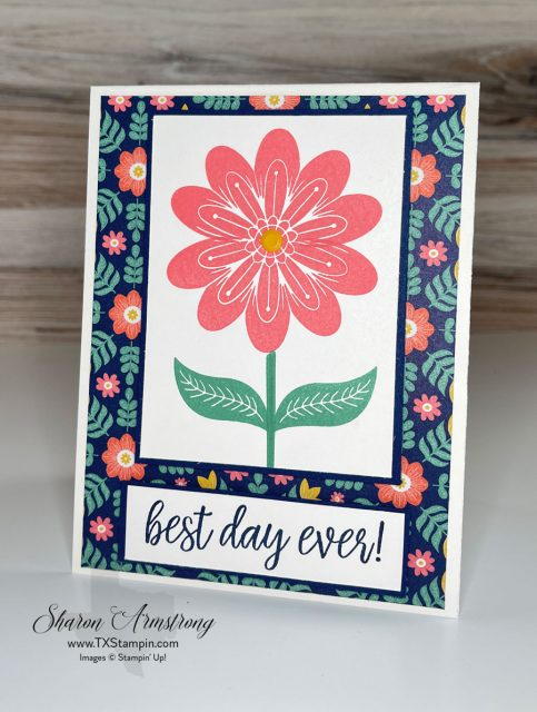 Summer cards are the best and brightest so I used the sentiment 'best day ever' on this handmade card.