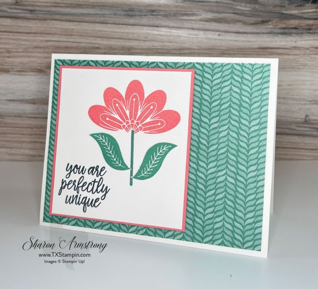 For this simple card I stamped the 2 leaves first and then stamped the flower in calypso coral ink.