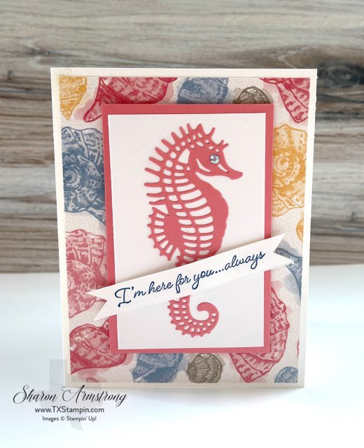 Bring the ocean theme to your cards with designer paper and a simple die cut seahorse.