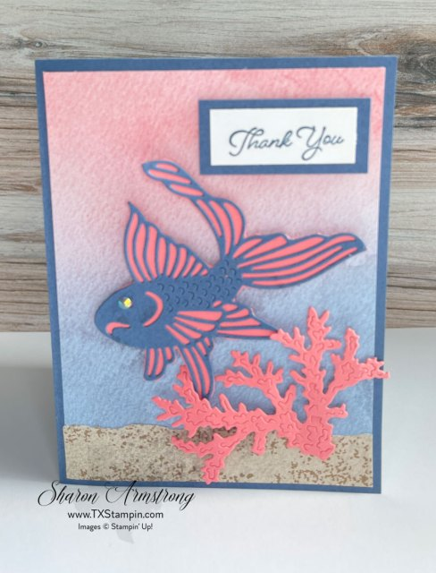 This ocean theme card features a blue die cut Koi fish backed with coral cardstock.