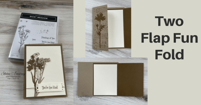 This flap fold card has 2 flaps giving you extra room to decorate, write, or have extra space for signatures.