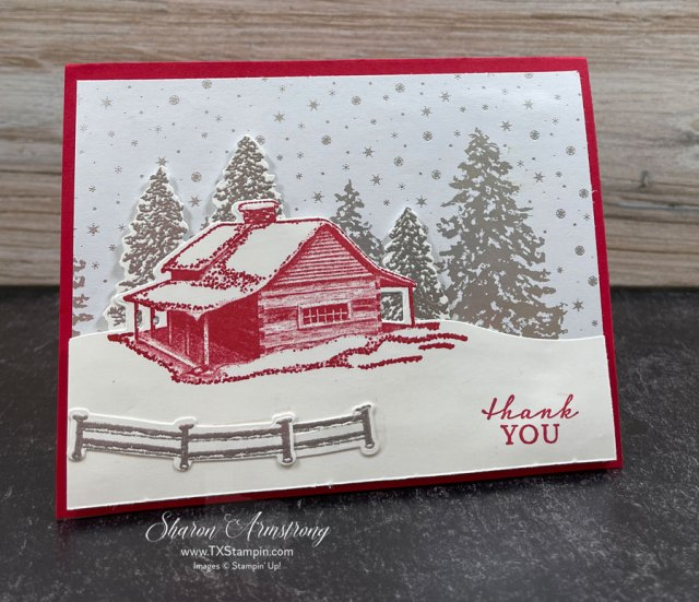 snow-scene-card-with-red-cabin-and-snow-covered-fence