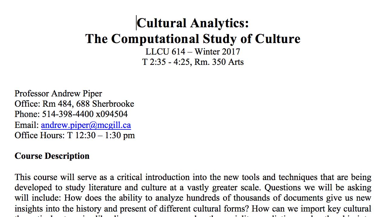 Culture + Computation: New Syllabus in Cultural Analytics LLCU 614