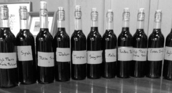 Perissos Vineyard and Winery tasting bottles