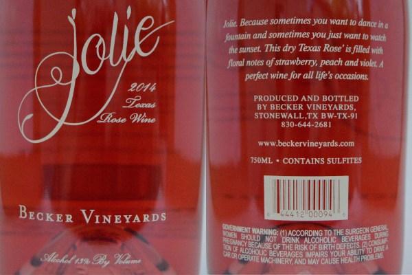 Becker Vineyards Jolie labels