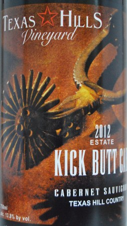 Texas Hills Vineyard Kick Butt Cab label