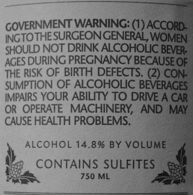 Sulfites on wine label