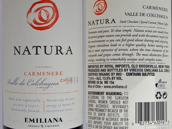 Natura Carménère labels