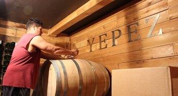 Doing a barrel tasting at Yepez Vineyard