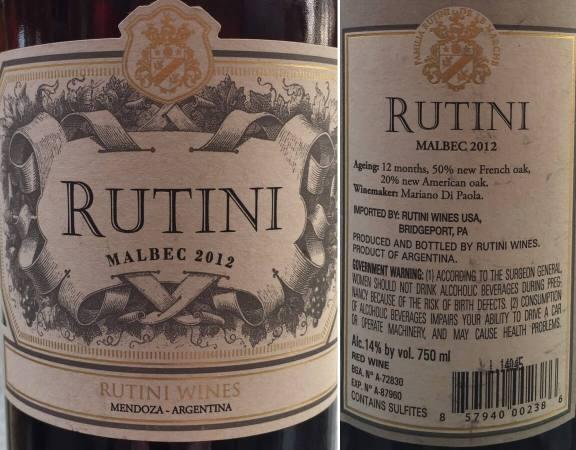 Rutini Malbec 2012 labels
