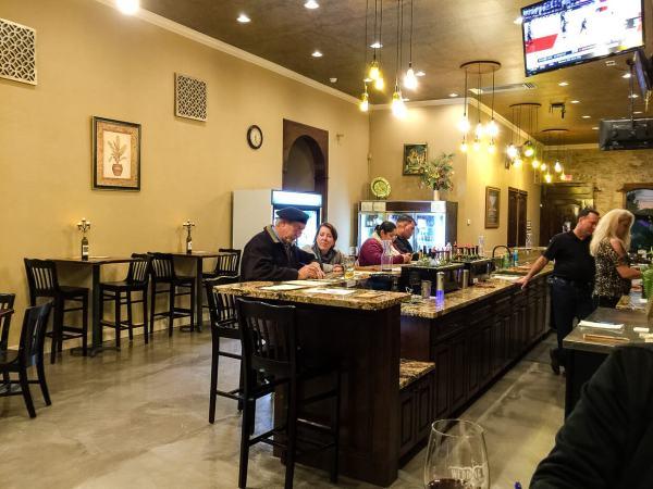 The Vineyard II tasting bar - Steve and Kathy Bullard on the right