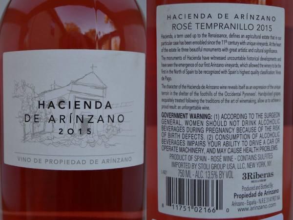 Hacienda de Arínzano Rosé labels