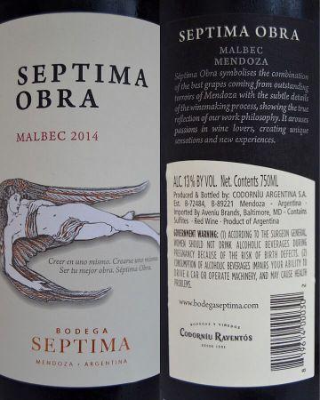Septima Obra Malbec labels