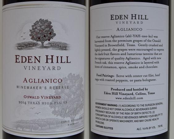 Eden Hill Aglianico labels