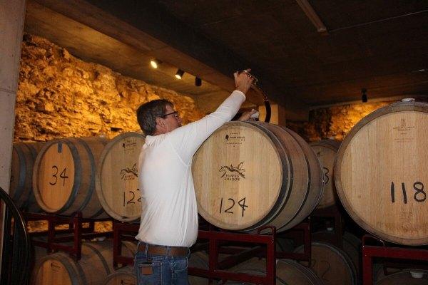 Barrel tasting at Hawk's Shadow Winery