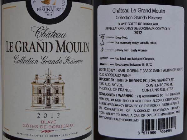 Château Le Grand Moulin labels