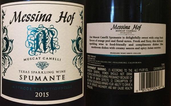 Messina Hof Spumante labels