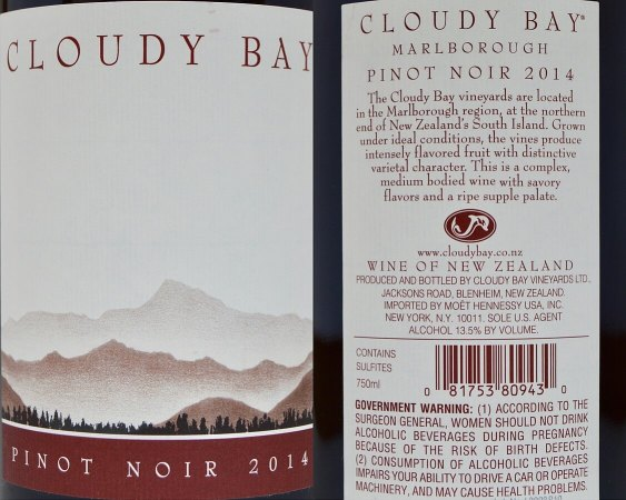 Cloud Bay Pinot Noir labels