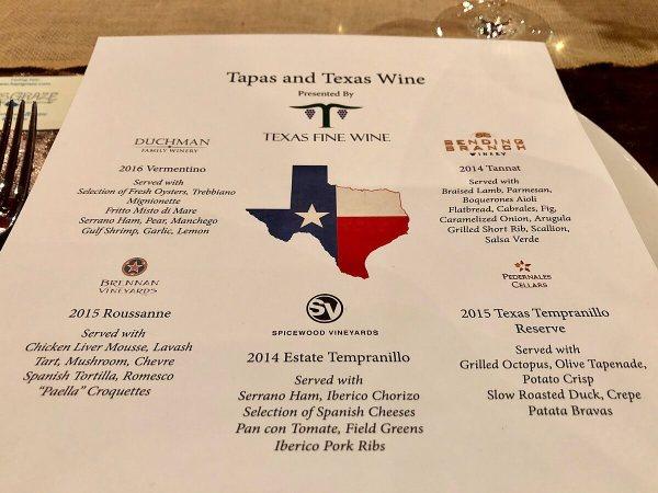 Texas Fine Wine dinner menu