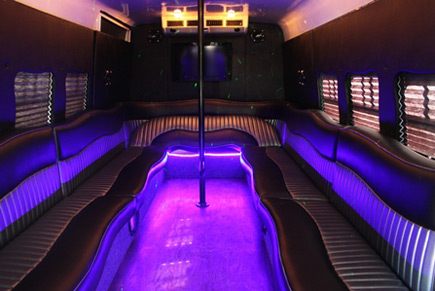 Purple limo bus