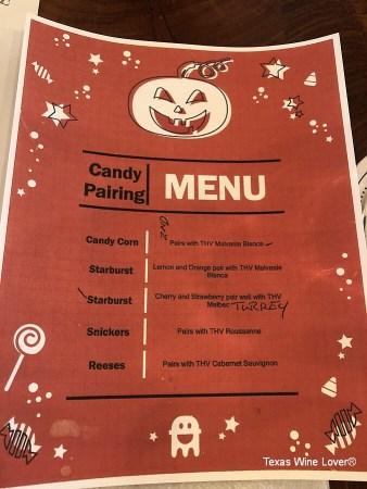 Texas Heritage Vineyard wine and candy pairing menu